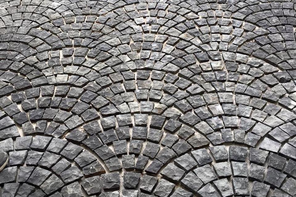 Cobble Stone Mosaics : Bluestone split cobble fan tile stone gallery