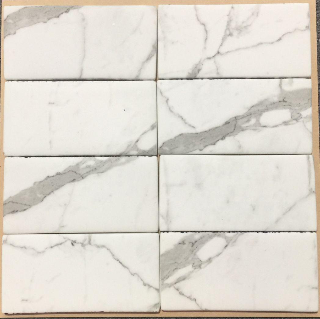 Carrara marble subway tiles