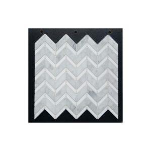 VULCANO VM 341-carrara-d-honed-thassos-polished-chevron-marble-mosaic