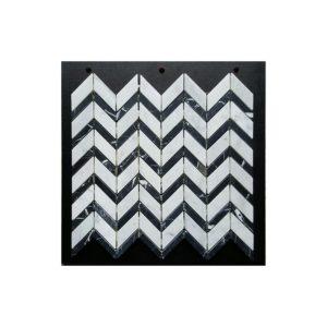 VULCANO VM 342-carrara-c-nero-marquina-honed-chevron-marble-mosaic