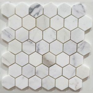 VULCANO VM 45-calacatta-statuario-hexagon-honed-marble-mosaic-48x48