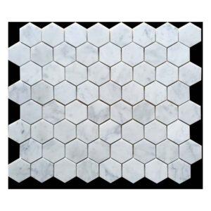 VULCANO VM 460-carrara-hexagon-honed-marble-mosaic-70x70