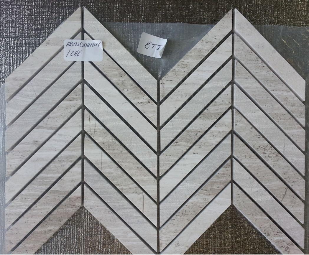 Wooden White Chevron Pattern Mosaic Tile Amp Stone Gallery
